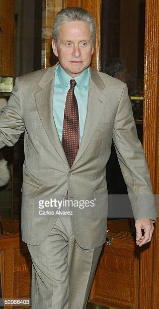 Actor Michael Douglas attends a promotional photocall for Mallorca Island at FITUR on January 26 2005 in Mallorca Spain
