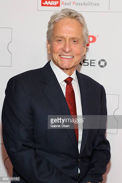 Actor Michael Douglas attends AARP's Movie For GrownUps Awards at the Beverly Wilshire Four Seasons Hotel on February 8 2016 in Beverly Hills...