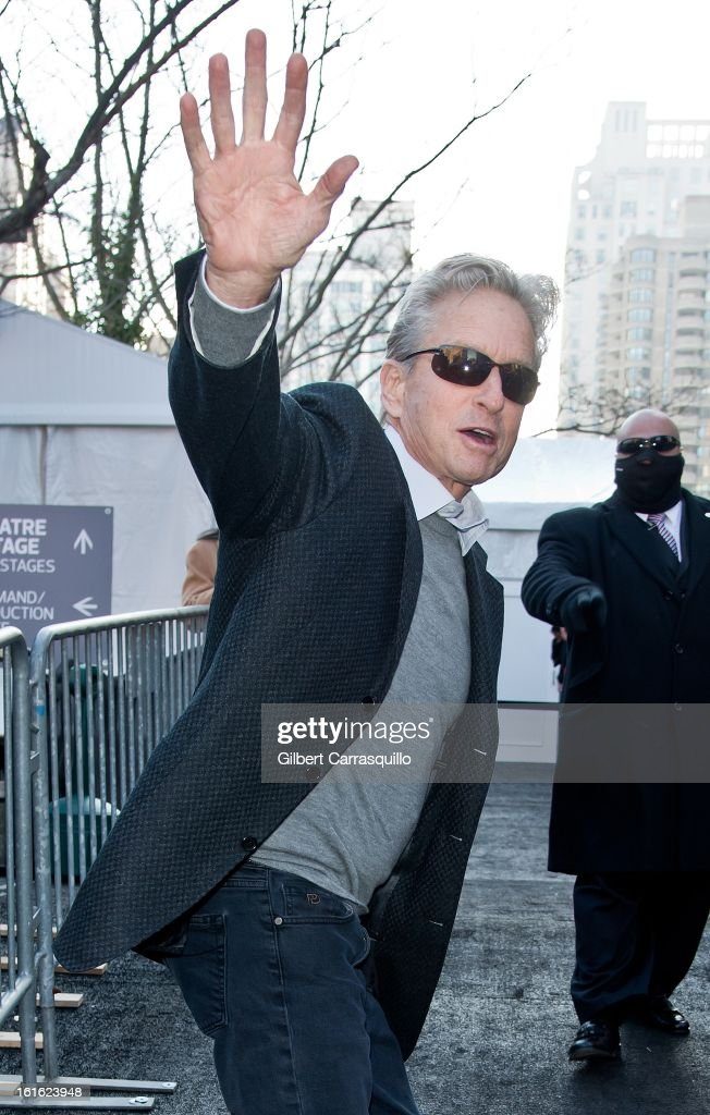 Actor <a gi-track='captionPersonalityLinkClicked' href=/galleries/search?phrase=Michael+Douglas&family=editorial&specificpeople=171111 ng-click='$event.stopPropagation()'>Michael Douglas</a> attends Fall 2013 Mercedes-Benz Fashion Show at The Theater at Lincoln Center on February 13, 2013 in New York City.