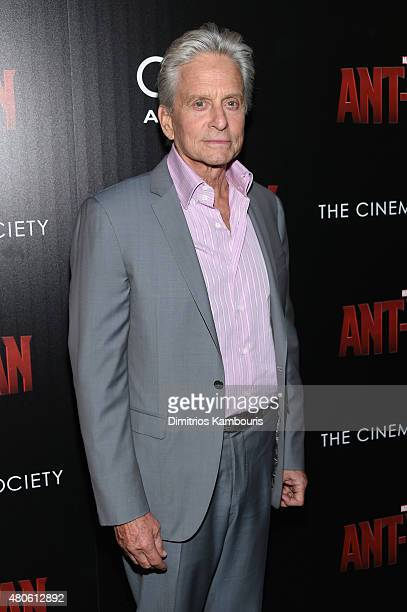 Actor Michael Douglas attends Marvel's screening of 'AntMan' hosted by The Cinema Society and Audi at SVA Theater on July 13 2015 in New York City