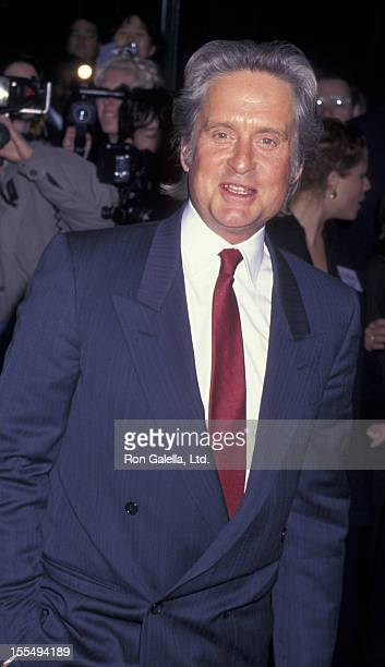 Actor Michael Douglas attends the premiere of The American President on November 8 1995 at the Ziegfeld Theater in New York City