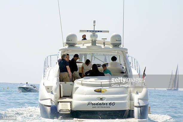 Actor Michael Douglas his son Dillon and wife actress Catherine ZetaJones take off aboard the Sunseeker May 14 2002 in Monte Carlo Monaco America's...