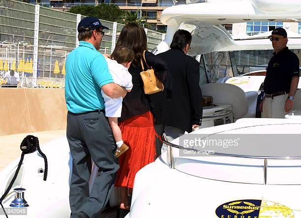 Actor Michael Douglas his son Dillon and wife actress Catherine ZetaJones board the Sunseeker May 14 2002 in Monte Carlo Monaco America's Cup...