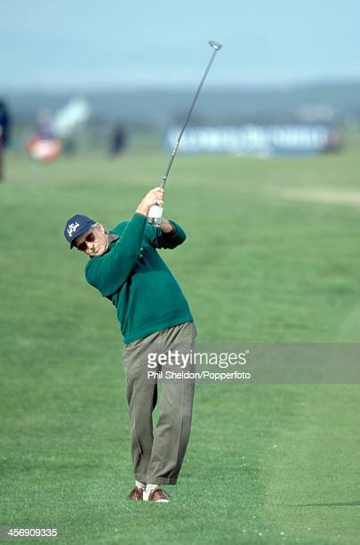 Actor Michael Douglas in action during the Alfred Dunhill Cup ProAm golf competition held at the St Andrews Golf Course Scotland circa October 1998