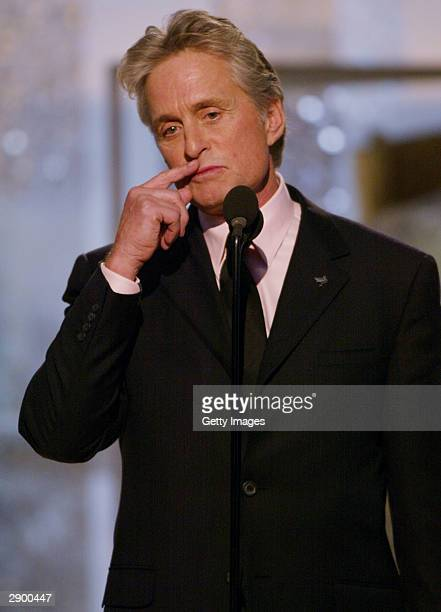Actor Michael Douglas on stage at the 61st Annual Golden Globe Awards on January 25 2004 at the Beverly Hilton Hotel in Beverly Hills California