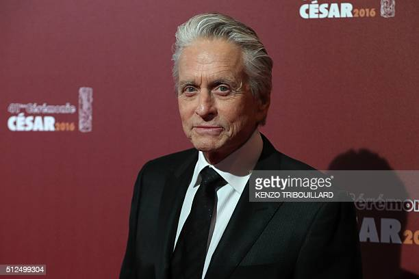 US actor Michael Douglas poses as he arrives for the 41st edition of the Cesar Ceremony at the Theatre du Chatelet in Paris on February 26 2016 AFP...