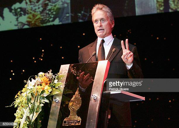 Actor Michael Douglas presents the 2005 Golden Kinnaree Awards at the Bangkok International Film Festival at the Queen Sirikit Convention January 21...