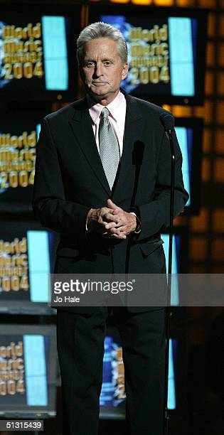 SEPTEMBER 15 Actor Michael Douglas presents the Diamond Award on stage at the 2004 World Music Awards at the Thomas Mack Centre on September 15 2004...