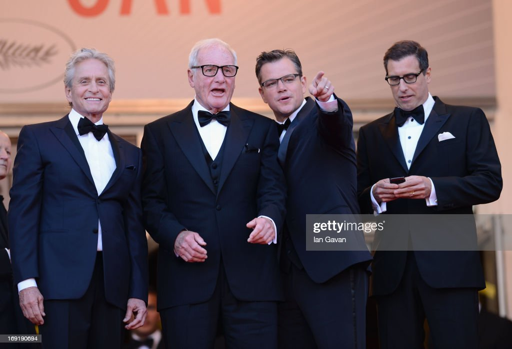 Actor <a gi-track='captionPersonalityLinkClicked' href=/galleries/search?phrase=Michael+Douglas&family=editorial&specificpeople=171111 ng-click='$event.stopPropagation()'>Michael Douglas</a>, producer <a gi-track='captionPersonalityLinkClicked' href=/galleries/search?phrase=Jerry+Weintraub&family=editorial&specificpeople=212833 ng-click='$event.stopPropagation()'>Jerry Weintraub</a>, actor <a gi-track='captionPersonalityLinkClicked' href=/galleries/search?phrase=Matt+Damon&family=editorial&specificpeople=202093 ng-click='$event.stopPropagation()'>Matt Damon</a> and screenwriter <a gi-track='captionPersonalityLinkClicked' href=/galleries/search?phrase=Richard+LaGravenese&family=editorial&specificpeople=630993 ng-click='$event.stopPropagation()'>Richard LaGravenese</a> attend the 'Behind The Candelabra' Premiere during the 66th Annual Cannes Film Festival at Grand Theatre Lumiere on May 21, 2013 in Cannes, France.