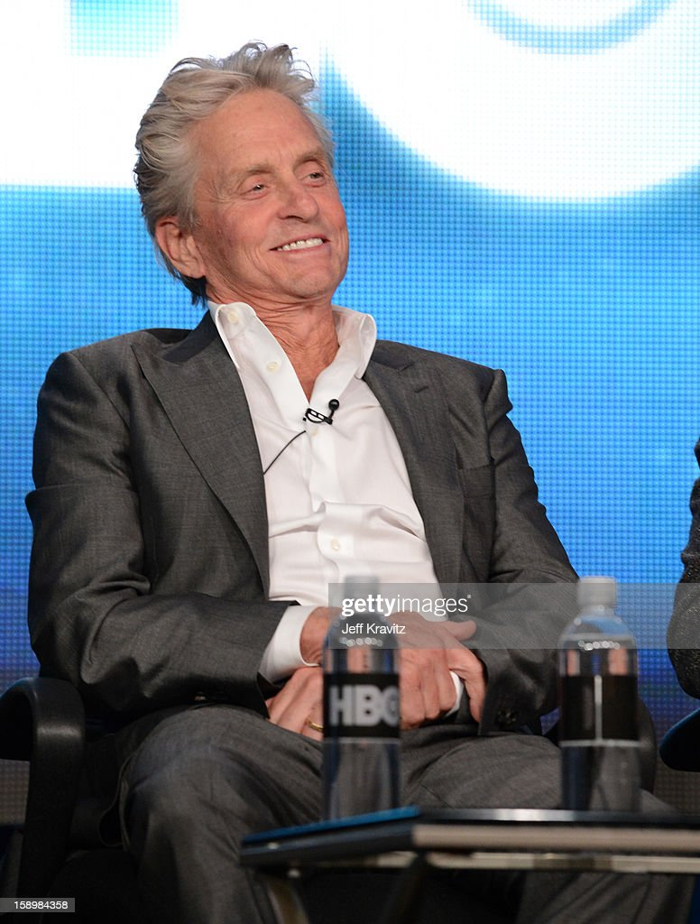 Actor <a gi-track='captionPersonalityLinkClicked' href=/galleries/search?phrase=Michael+Douglas&family=editorial&specificpeople=171111 ng-click='$event.stopPropagation()'>Michael Douglas</a> speaks about the new HBO film 'Behind The Candelabra' during the HBO Winter 2013 TCA Panel at The Langham Huntington Hotel and Spa on January 4, 2013 in Pasadena, California.