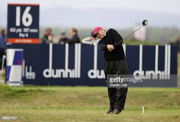 Actor Michael Douglas tees off on the 16th hole during the second round of the Dunhill Links Championships on the Old Course September 30 2005 in St...