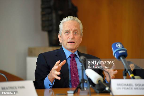 US actor Michael Douglas United Nations Messenger of Peace speaks during a press conference at the United Nations Office on May 12 2016 in Geneva...