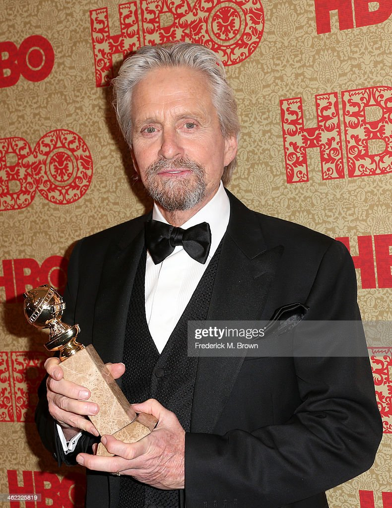 Actor Michael Douglas winner of Best Actor in a Miniseries or Television Film for 'Behind the Candelabra' attends HBO's Post 2014 Golden Globe Awards...