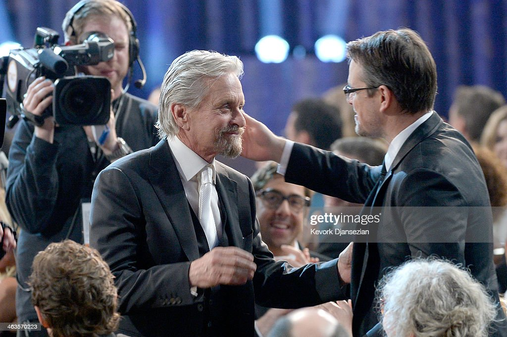 Actor Michael Douglas winner of the Outstanding Performance by a Male Actor in a Miniseries or Television Movie award for 'Behind the Candelabra' and...