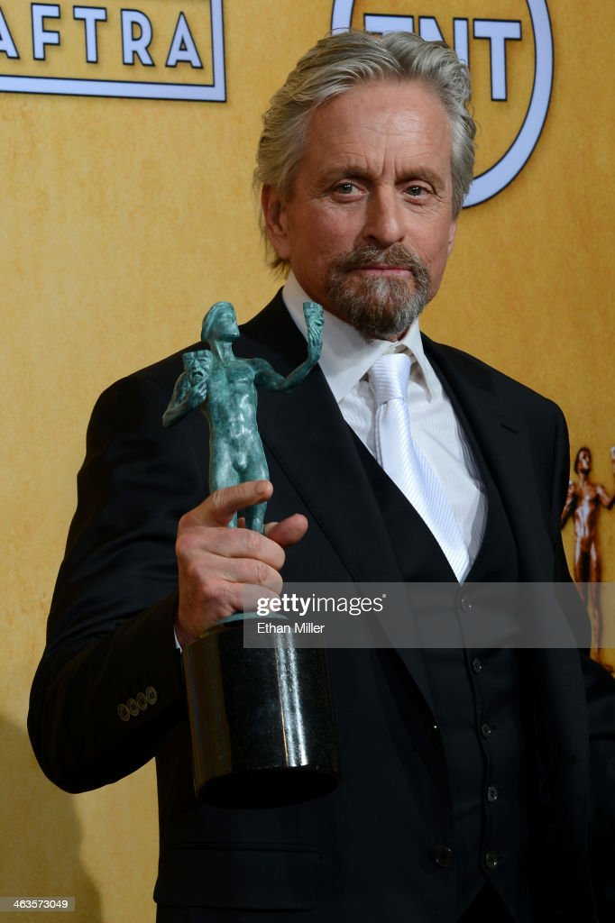 Actor Michael Douglas winner of the Outstanding Performance by a Male Actor in a Miniseries or Television Movie award for 'Behind the Candelabra'...