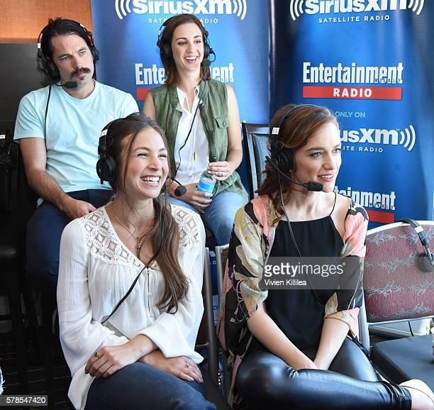 Actor Michael Eklund and actresses Katherine Barrell Dominique ProvostChalkley and Melanie Scrofano attend SiriusXM's Entertainment Weekly Radio...