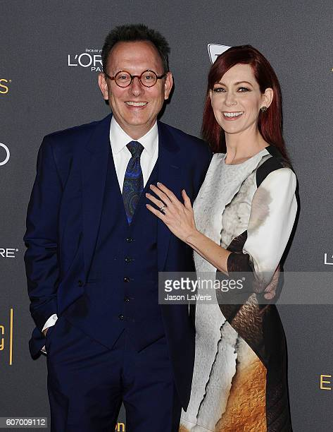 Actor Michael Emerson and actress Carrie Preston attend the Television Academy reception for Emmy nominated performers at Pacific Design Center on...