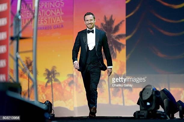 Actor Michael Fassbender accepts the International Star Award onstage at the 27th Annual Palm Springs International Film Festival Awards Gala at Palm...