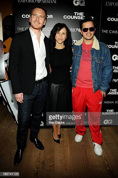 Actor Michael Fassbender actress Rosie Perez and actor John Leguizamo attend the Emporio Armani with GQ The Cinema Society screening of 'The...