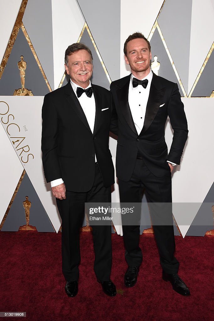 Actor Michael Fassbender and guest attend the 88th Annual Academy Awards at Hollywood Highland Center on February 28 2016 in Hollywood California