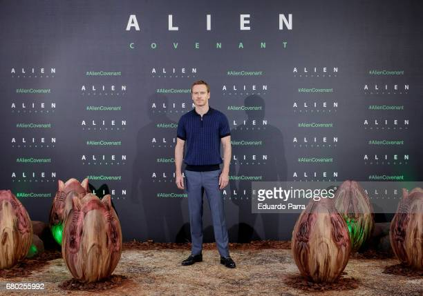 Actor Michael Fassbender attends the 'Alien Covenant' photocall at Villamagna hotel on May 8 2017 in Madrid Spain