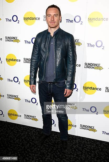 Actor Michael Fassbender attends the 'Frank' screening during the Sundance London Film and Music Festival 2014 at 02 Arena on April 25 2014 in London...