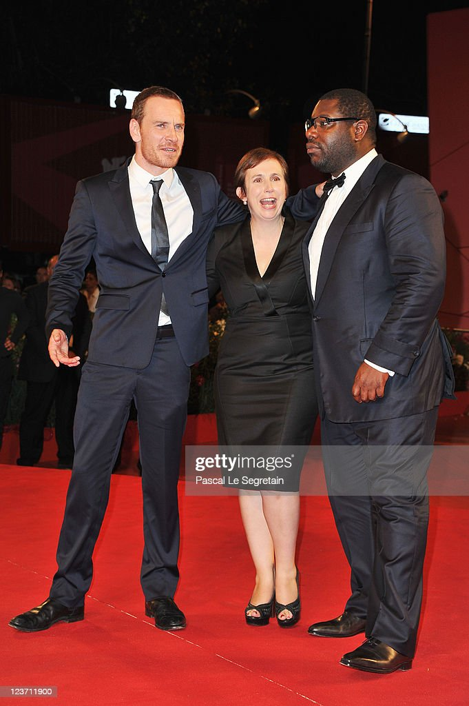 Actor <a gi-track='captionPersonalityLinkClicked' href=/galleries/search?phrase=Michael+Fassbender&family=editorial&specificpeople=4157925 ng-click='$event.stopPropagation()'>Michael Fassbender</a>, screenwriter Abi Morgan and director Steve McQueen attend the 'Shame' premiere during the 68th Venice Film Festival at Palazzo del Cinema on September 4, 2011 in Venice, Italy.