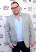 Actor Michael Gladis with Jameson prior to the 2012 Film Independent Spirit Awards at Santa Monica Pier on February 25 2012 in Santa Monica...
