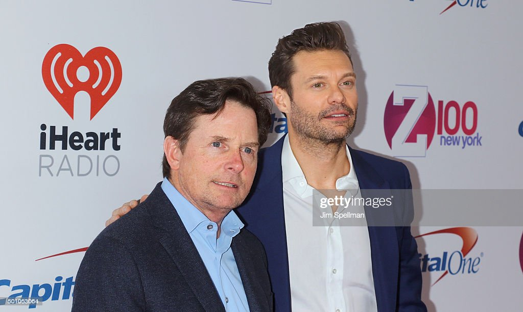 Actor Michael J. Fox and radio personality Ryan Seacrest attend the Z100's iHeartRadio Jingle Ball 2015 at Madison Square Garden on December 11, 2015 in New York City.