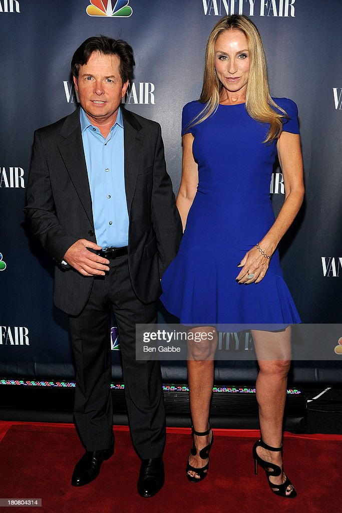 Actor <a gi-track='captionPersonalityLinkClicked' href=/galleries/search?phrase=Michael+J.+Fox&family=editorial&specificpeople=208846 ng-click='$event.stopPropagation()'>Michael J. Fox</a> (L) and wife <a gi-track='captionPersonalityLinkClicked' href=/galleries/search?phrase=Tracy+Pollan&family=editorial&specificpeople=216511 ng-click='$event.stopPropagation()'>Tracy Pollan</a> attend NBC's 2013 Fall Launch Party Hosted By Vanity Fair at The Standard Hotel on September 16, 2013 in New York City.