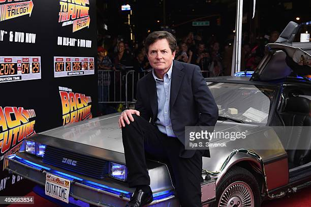Actor Michael J Fox attends the Back to the Future reunion with fans in celebration of the Back to the Future 30th Anniversary Trilogy on Bluray and...