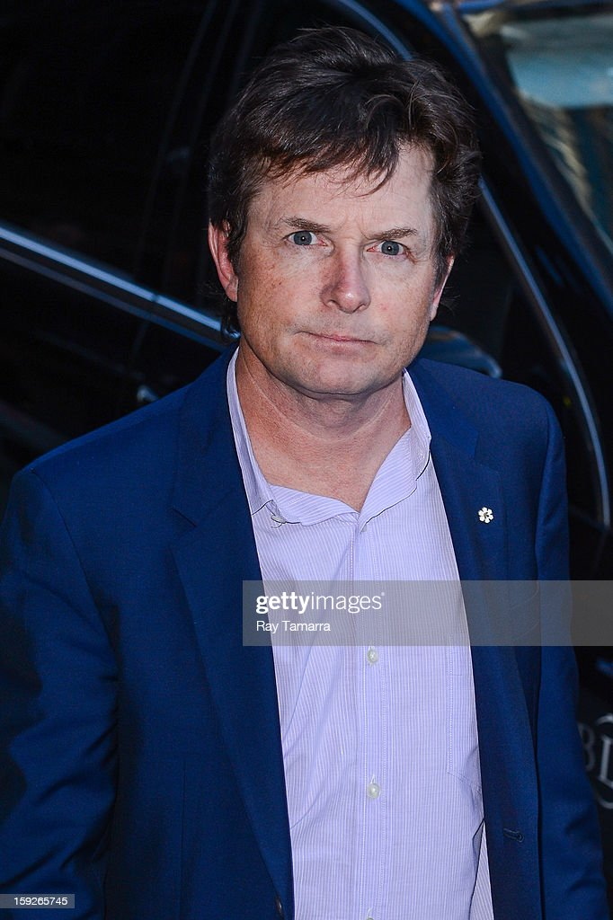 Actor <a gi-track='captionPersonalityLinkClicked' href=/galleries/search?phrase=Michael+J.+Fox&family=editorial&specificpeople=208846 ng-click='$event.stopPropagation()'>Michael J. Fox</a> enters the 'Late Show With David Letterman' taping at the Ed Sullivan Theater on January 10, 2013 in New York City.