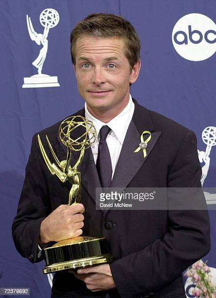 Actor Michael J Fox holds his award for 'Outstanding Lead Actor in a Comedy Series' in 'spin City'' backstage at the 52nd Annual Primetime Emmy...