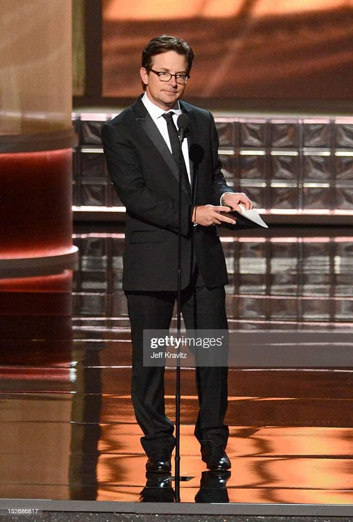 Actor Michael J. Fox onstage during the 64th Primetime Emmy Awards at Nokia Theatre L.A. Live on September 23, 2012 in Los Angeles, California.