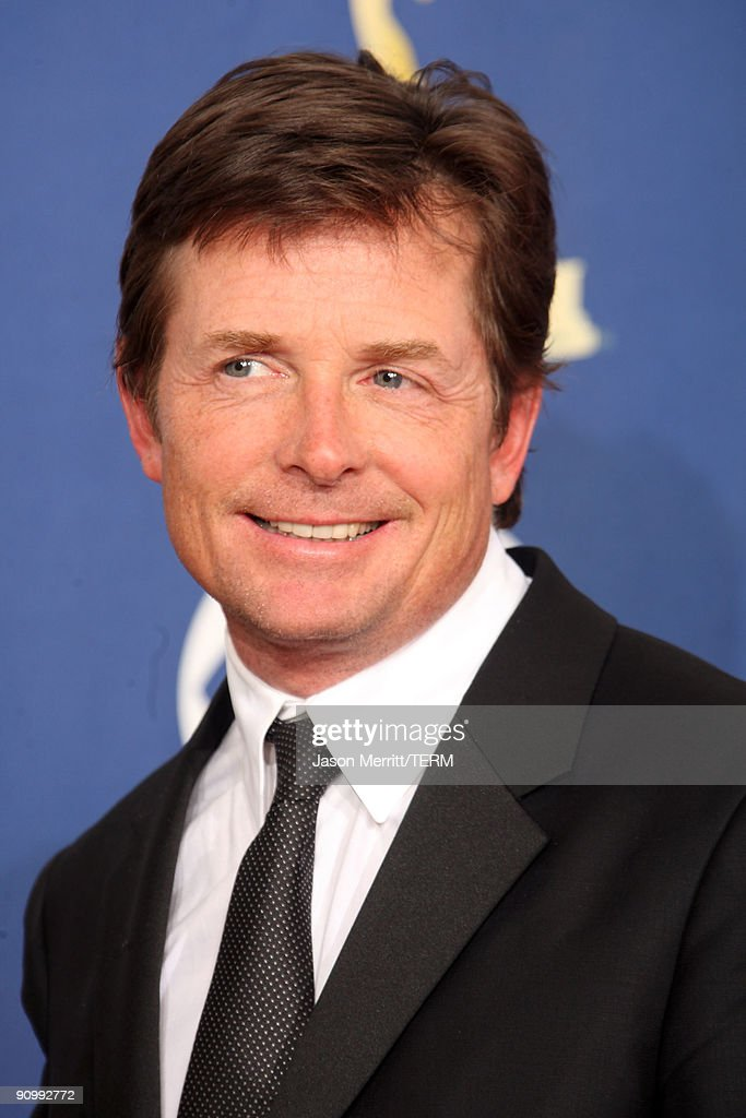 Actor <a gi-track='captionPersonalityLinkClicked' href=/galleries/search?phrase=Michael+J.+Fox&family=editorial&specificpeople=208846 ng-click='$event.stopPropagation()'>Michael J. Fox</a> poses in the press room at the 61st Primetime Emmy Awards held at the Nokia Theatre on September 20, 2009 in Los Angeles, California.