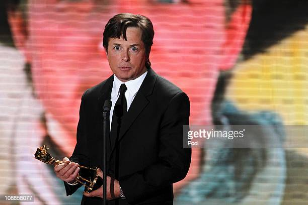 Actor Michael J Fox receives his international lifetime achievement award during the 46th Golden Camera awards at the Axel Springer Haus on February...