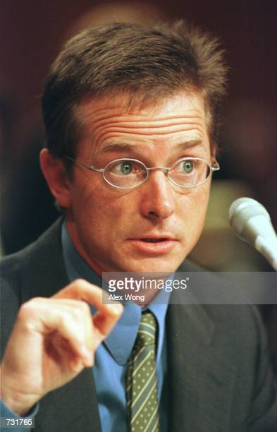 Actor Michael J Fox testifies before the US Senate subcommittee on Labor Health and Human Services Education and Related Agencies September 14 2000...