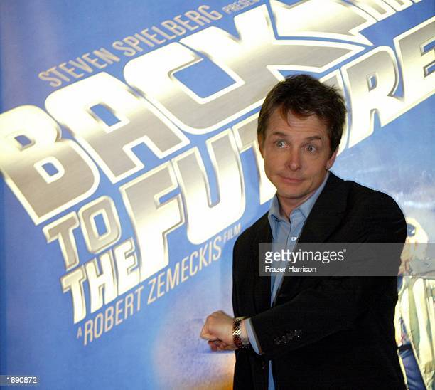 Actor Michael J Fox who attended the launch party of the 'Back to the Future' DVD release held at Universal Studios on December 16 2002 in Hollywood...