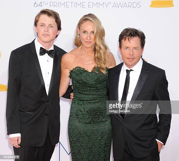 Actor Michael J Fox wife Tracy Pollan and son Sam arrive at the 64th Primetime Emmy Awards at Nokia Theatre LA Live on September 23 2012 in Los...