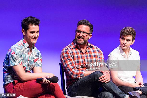 Actor Michael J Willett producer Carter Covington actor Elliot Fletcher on stage at MTV's 'Faking It' screening at the Los Angeles LGBT Centeron on...