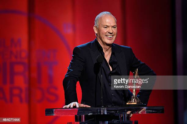 Actor Michael Keaton accepts Best Male Lead for 'Birdman' onstage during the 2015 Film Independent Spirit Awards at Santa Monica Beach on February 21...