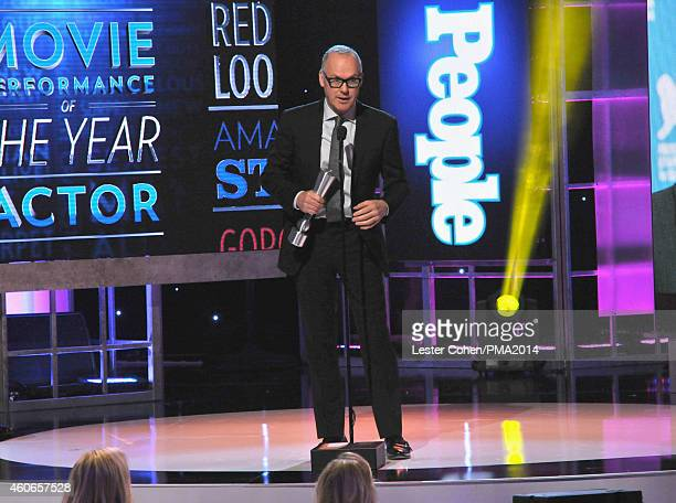 Actor Michael Keaton accepts the Movie Actor of the Year award onstage during the PEOPLE Magazine Awards at The Beverly Hilton Hotel on December 18...