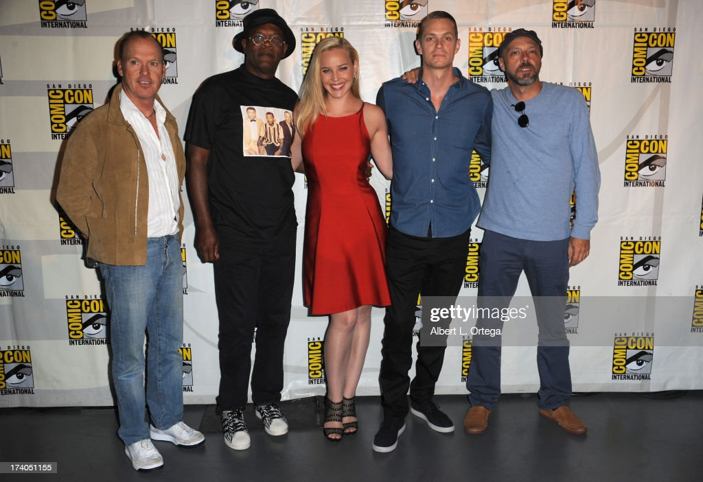 Actor Michael Keaton, actor Samuel L. Jackson, actress Abbie Cornish, actor Joel Kinnaman and director Jose Padilha appear at the Sony and Screen Gems panel during Comic-Con International 2013 at San Diego Convention Center on July 19, 2013 in San Diego, California.