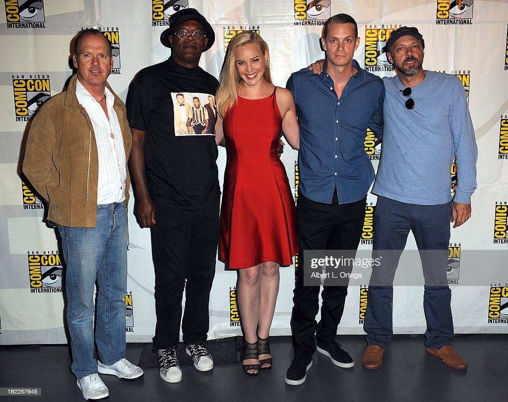 Actor Michael Keaton, actor Samuel L. Jackson, actress Abbie Cornish, actor Joel Kinnaman and director Jose Padilha attend The Sony and Screen Gems Panell featuring Robocop as part of Comic-Con International 2013 held at San Diego Convention Center on Friday July 19, 2012 in San Diego, California.