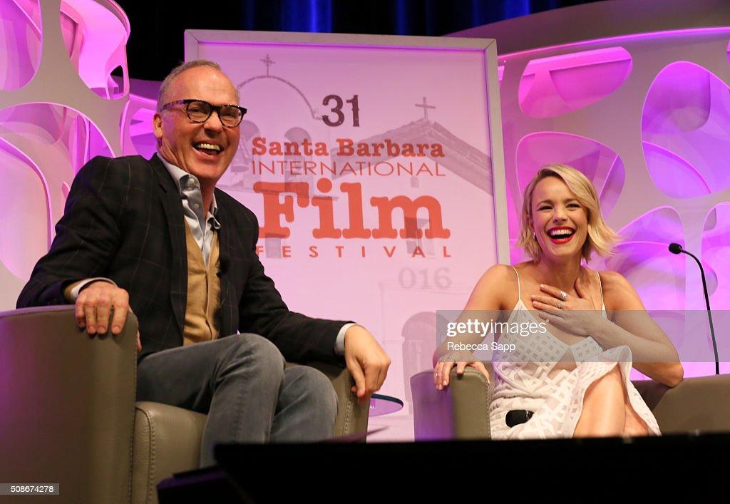 Actor Michael Keaton and Actress Rachel McAdams speak onstage at the American Riviera Award at the Arlington Theater at the 31st Santa Barabara International Film Festival on February 5, 2016 in Santa Barbara, California.