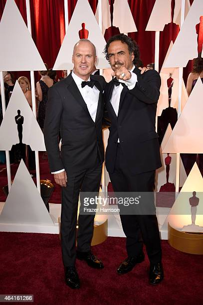 Actor Michael Keaton and director Alejandro Gonzalez Inarritu attend the 87th Annual Academy Awards at Hollywood Highland Center on February 22 2015...