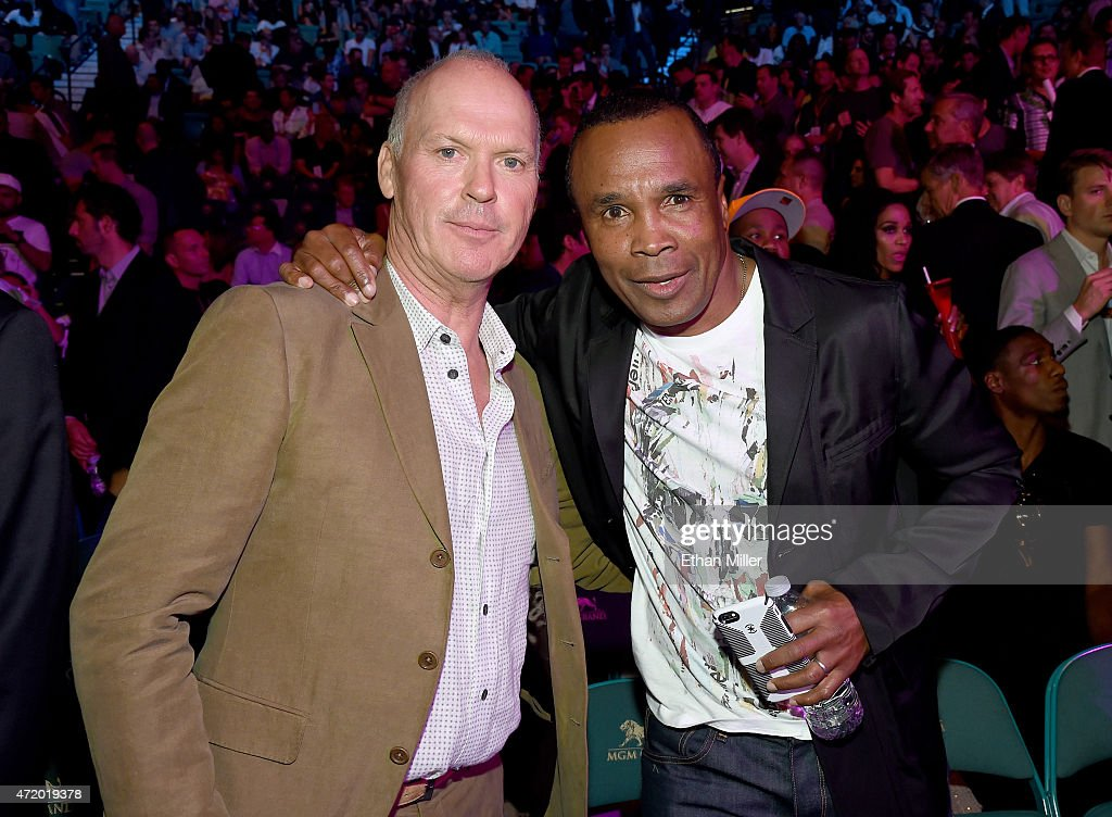 Actor Michael Keaton and former boxer Sugar Ray Leonard pose ringside at 'Mayweather VS Pacquiao' presented by SHOWTIME PPV And HBO PPV at MGM Grand...