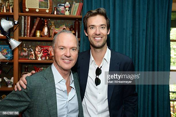 Actor Michael Keaton and songwriter Sean Douglas attend The Weinstein Company's Celebratory Lunch for Michael Keaton Hosted at the private residence...