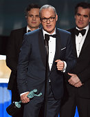 Actor Michael Keaton and the cast of 'Spotlight' accept the Cast in a Motion Picture award onstage during The 22nd Annual Screen Actors Guild Awards...