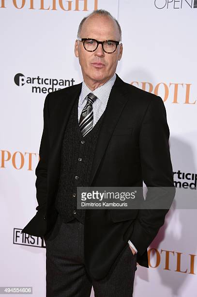Actor Michael Keaton attends the 'Spotlight' New York premiere at Ziegfeld Theater on October 27 2015 in New York City
